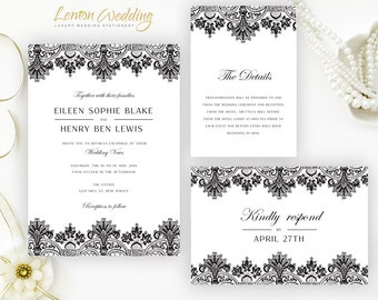 Black wedding Invitations printed on shimmer cardstock | Elegant wedding invitation, Info card, RSVP postcard