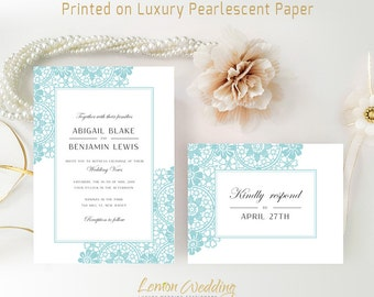 Traditional wedding Invitations printed on shimmer cardstock | Blue green wedding invites and RSVP postcards | Cheap wedding invitations