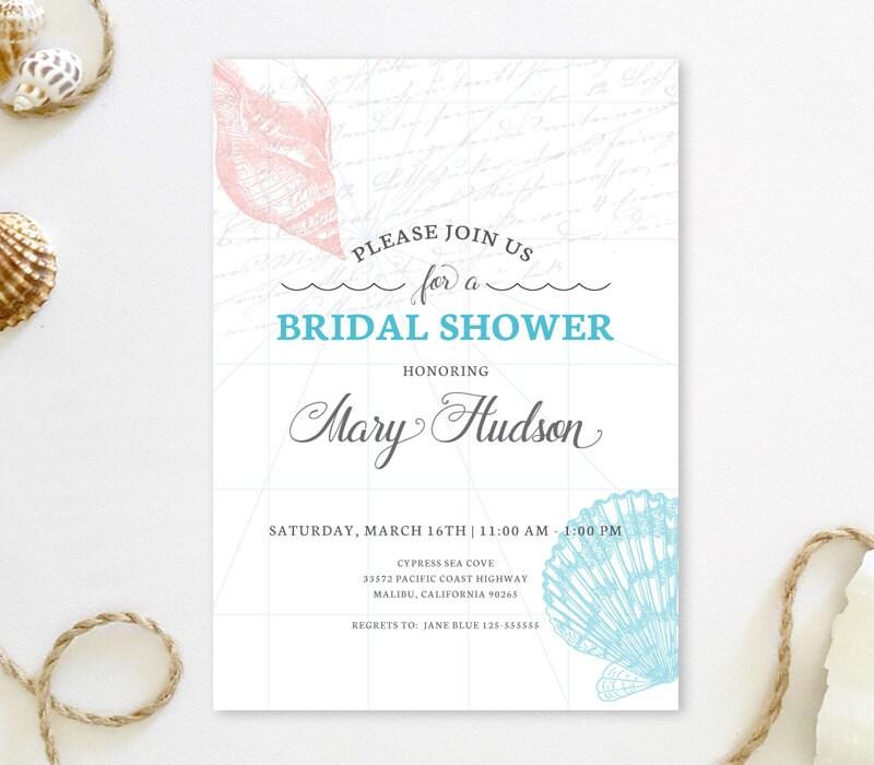 Seashell Bridal Shower Invitations Beach Wedding Shower