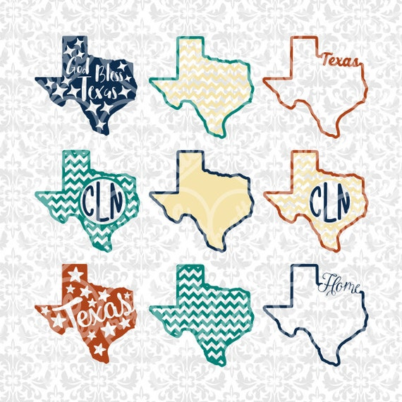 Texas State Shape Monogram Chevron Outline SVG STUDIO Ai EPS scalable vector instant download commercial use cricut silhouette