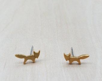 Gold Tiny Fox Stud Earrings
