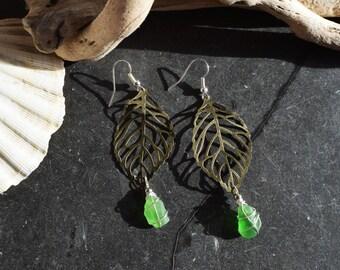 Autumn bronze leaf & seaglass Earrings