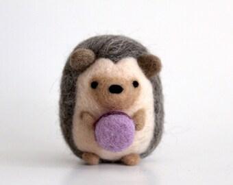 Needle Felted Hedgehog with Macaron, Needle Felted Animal, Felt Hedgehog, Felt Animal, Hedgehog Gifts, Hedgie, Plush Hedgehog, Mini Hedgehog