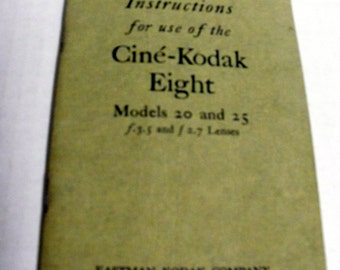 32 page Instruction Booklet for Cine-Kodac Eight