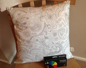 Colouring-in cushion paisley design