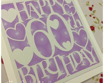 60th Birthday Hearts Paper Cutting Template - Commercial Use