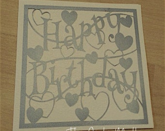 Happy Birthday Hearts Paper Cutting Template - Commercial Use