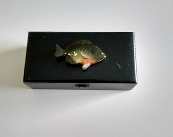 Fish Decorated Wooden  Box, Vintage Fish Decorated Wooden Box