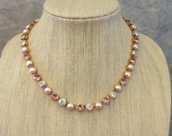 Swarovski Crystal Blush & Ivory Pearl Rose Gold Necklace, bridal necklace, wedding necklace, choker, bridesmaid necklace, bridesmaid gift