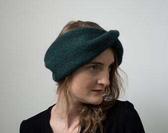 Green way headband turban 100% wool