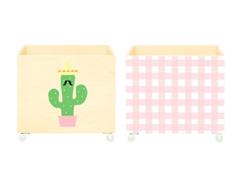 Ensemble de coffres à jouets,boîte de pépinière,stockage bin,jouet espoir,caisse Cactus noir, Grille rose.Meubles,bois,roues.Toy, vert,rose.