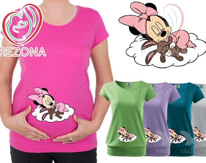 Maternity clothes, Maternity Clothing, Sleeping Mickey Mouse Minnie Maternity Shirt, MATERNITY Shirt,Peekaboo, Peeking Minnie,Baby Peeking