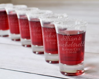 8 Bachelorette Party Engraved Shot Glasses - Set of Eight Bridesmaid Bride Gifts Personalized