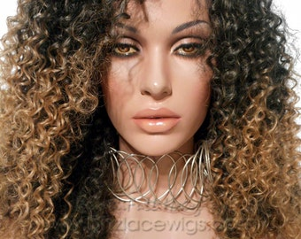 Dark Root Crinkle Kinky wavy Lace Front wig ombre wig lace front wig Nicki Minaj wig Kardashian lace front wig drag queen lace wig