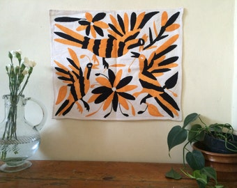 Mexican Otomi embroidered. Wall decoration, one of a kind.