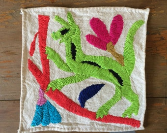 Mexican Otomi little embroidered wall decoration one of a kind