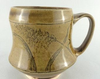 Botanical Coffee Mug, Wild Grass Decoration, Green Amber glaze, handmade pottery mug