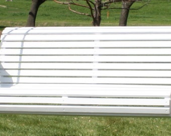 Brand New 6 Foot Painted Contoured Classic White Porch Swing - with Hanging Chain or Rope - Free Shipping