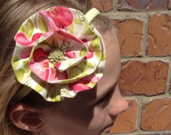 Floral Fabric Flower Elastic Headband