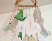 Beach Glass Wind Chime Sea Glass Driftwood Mobile Surf Tumbled Authentic Beach Glass from Provincetown Cape Cod Purple Pink Yellow Green
