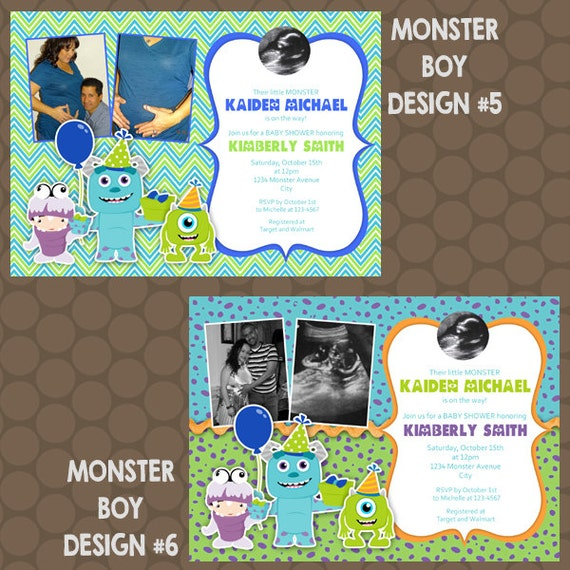 monster 39 s inc baby boy shower invitations or thank you cards printable