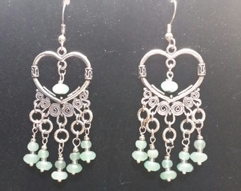 Chandelier earrings with silver hearts and jade beads