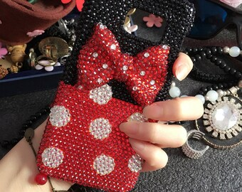 New Bling Sparkly Cute Girly Polka Dot Bow Gemstones Crystals Rhinestones Diamonds Fashion Lovely Hard Cover Case for Various Mobile Phones