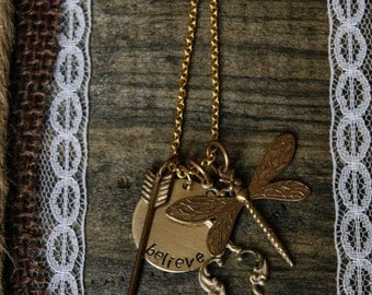 Gold Necklace with Believe Hand stamped Pendant And Other Charms
