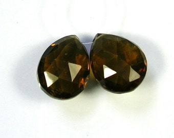 Cognac quartz faceted pear beads AA+ 17.5-18mm 2pcs