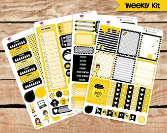Honey Bee Planner Stickers, Weekly Kit Stickers, for Erin Condren Planner and other planners.