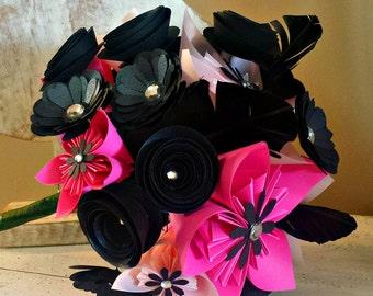 Handmade paper flower bouquet - pink and black - origami flowers - gemstones