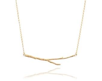 18K gold vermeil horizontal twig necklace