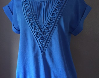 Vintage short sleeve blue blouse/polyester/Small