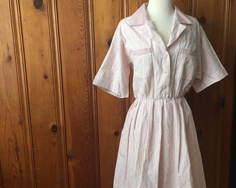 Vintage pink and white striped dress/pockets/pinup/Size Large