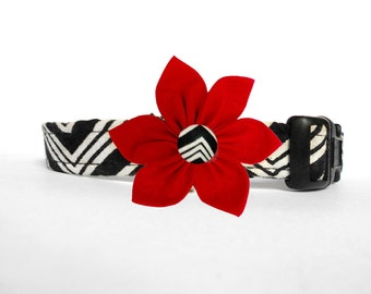 Black and white Chevron wedding collar/ Personalized chic modern formal Dog Collar