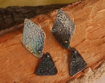 sterling silver; heavy textured; dangle earrings
