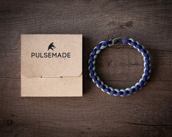 Men's bracelet-violet-silver grey-Pulsemade Weave collection-Handmade paracord 550 bracelet Mens-Womens Purple-Silver