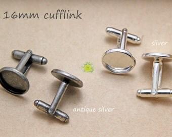 500pcs Cufflinks Blank-Silver Plated Cufflinks Cabochon Setting-16mm Cuff Links Blanks-Cuff Link Findings-Bezel Cufflink Blanks-16mm Pad