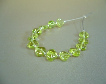 Peridot Heart Beads Set of 13