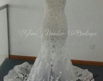 Handmade Boho Illusion Lace Bridal Gown