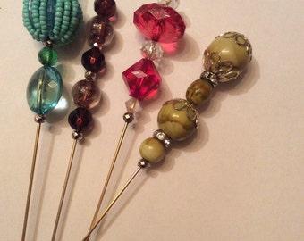 "20% Off Sale Vintage Bead Hatpins 7 "" Victorian Style/Set of 4"