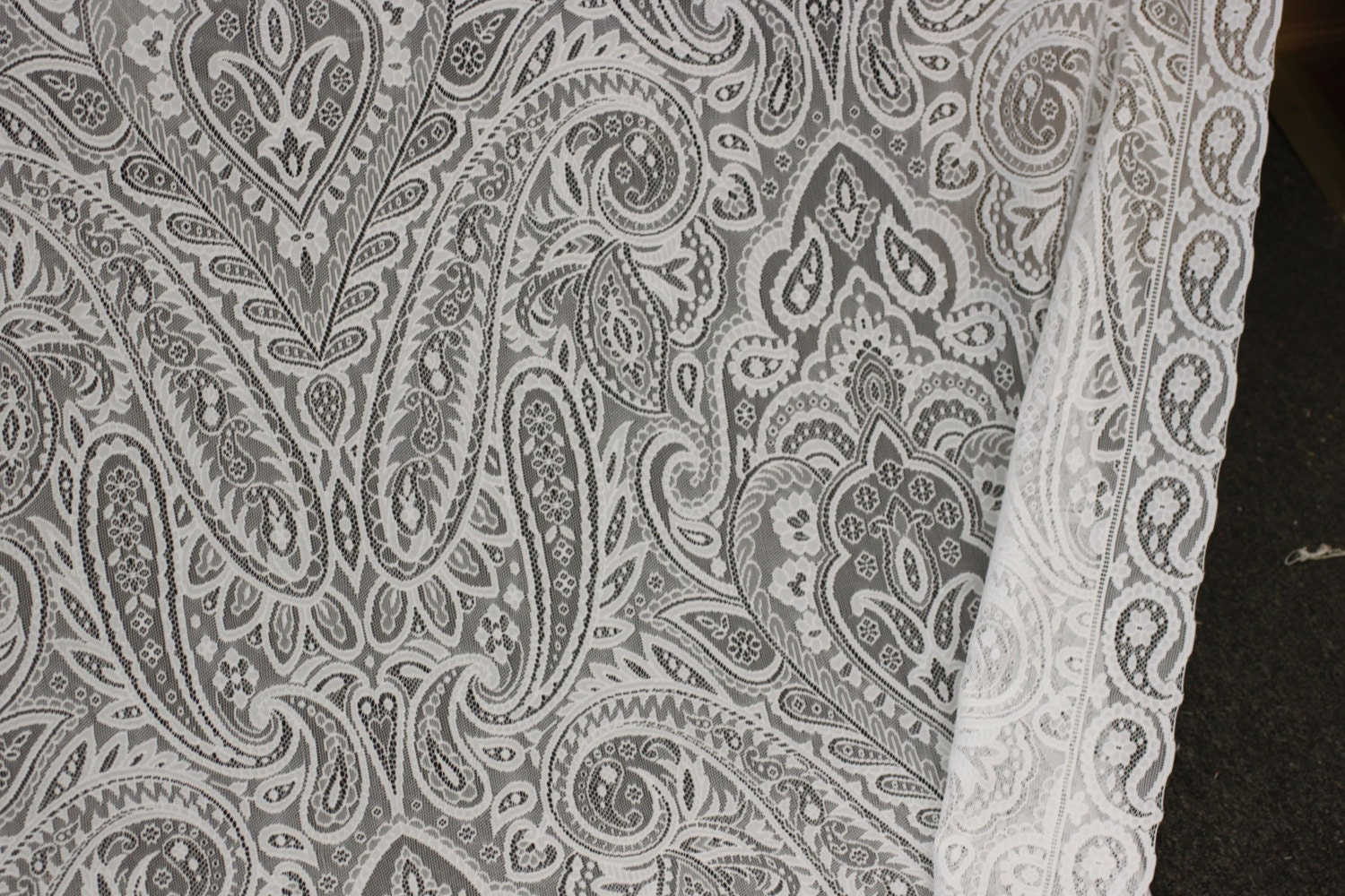 Lace 19 century lace ivory or white drapery fabric for Lace home decor