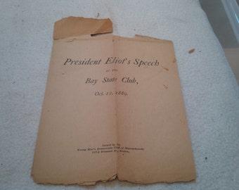 Harvard President Eliot's Speech, 1889
