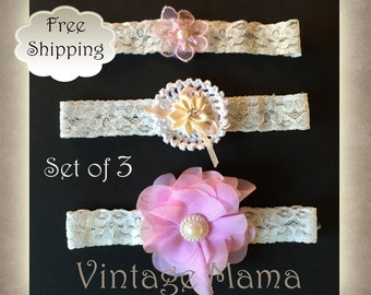 Girls Vintage Headbands - Set of 3- Newborn to 1yr