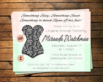 Peach & Mint Lingerie Bridal Shower Invitation