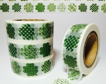 Fun Four Leaf Clovers, St. Patrick's Day, Washi Tape, Full Roll and Sample Lengths