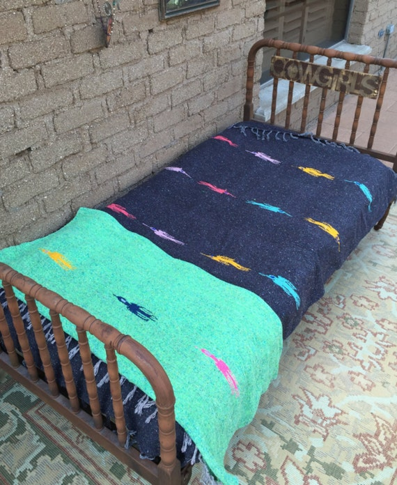 Mexican Blanket Dark Gray With Colorful Thunder Birds