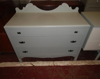 1930s oak chest of 3 drawers refurbished in blue gray