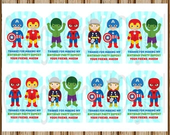 PERSONALIZED- Superhero Gift Tags- Super Hero Gift Tags- Avengers Gift Tags-Treat Bag Tags- 8.5 x 11 size- Print Your Own-Digital