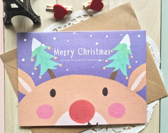 KAWAII Christmas Card/BlankTextured Card & Kraft Envelope/1 PC/Reindeer
